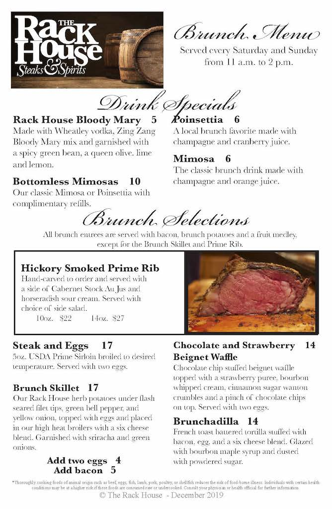 Rackhouse Brunch Menu